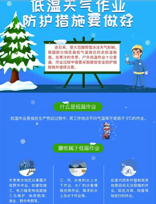 低温天气作业 防护措施要做好